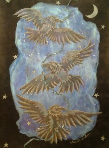 """Raven Aurora"" silk-paper collage by Laurel W. Carnahan"