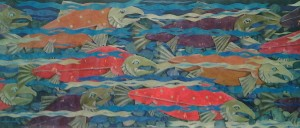 """Salmon Derby"" silk-paper collage by Laurel W. Carnahan"